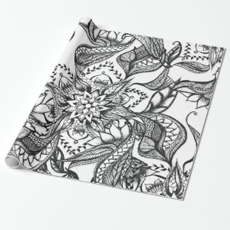 Modern black and white floral mandala illustration wrapping paper