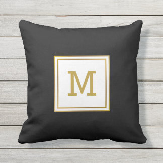 Modern Black and White Gold Monogram Preppy Outdoor Pillow