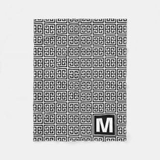 Modern Black and White Greek Key Monogram Fleece Blanket