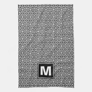 Modern Black and White Greek Key Monogram Kitchen Towel