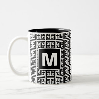 Modern Black and White Greek Key Monogram Two-Tone Coffee Mug
