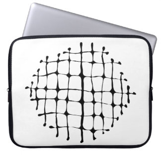 Modern Black and White Grid Burst Neoprene Laptop Sleeve