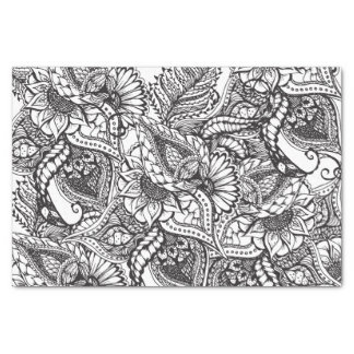Modern black and white hand drawn floral pattern tissue paper