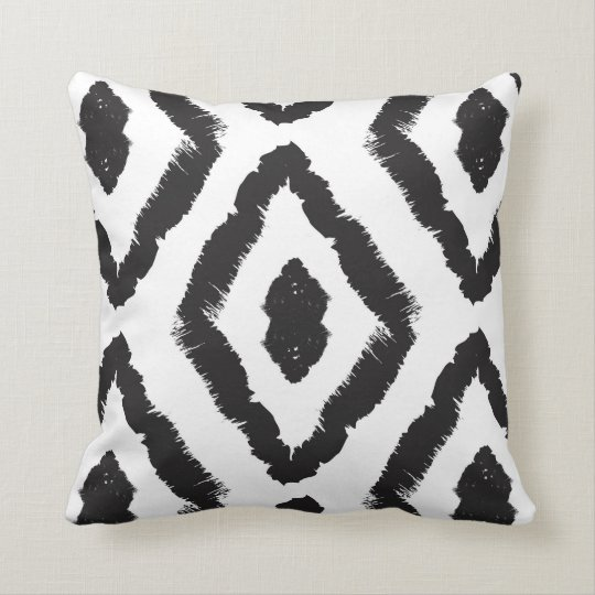 Modern Black and White Ikat Abstract Graphic Throw Pillow