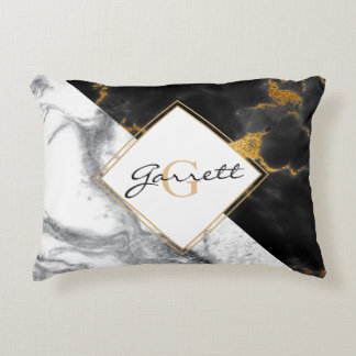 Modern Black and White Marble Accent Pillow