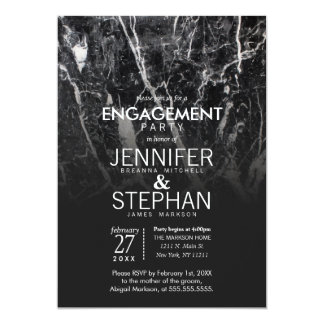 Modern Black and White Marble Engagement Party Card