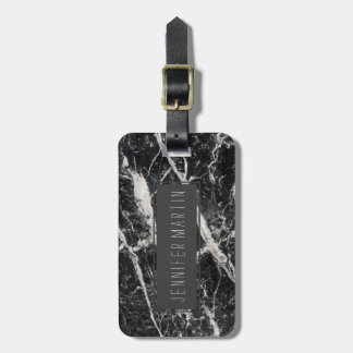 Modern Black and White Marble Pattern Luggage Tag