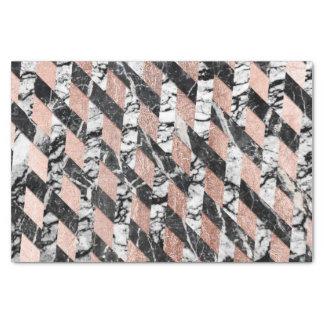 Modern Black and White Marble Rose Gold Crisscross Tissue Paper