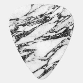 Modern Black and White Marble Stone Guitar Pick