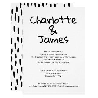 Modern Black and White Monochrome Wedding Card