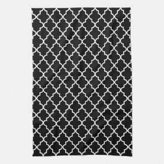 Modern Black and White Moroccan Quatrefoil Hand Towel