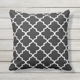 Modern Black and White Moroccan Quatrefoil Throw Pillow