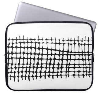 Modern Black and White Organic Grid Neoprene Laptop Sleeve