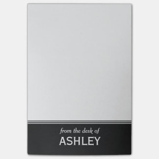 """Modern Black and White Personalized 4"""" x 6"""" Post-it Notes"""