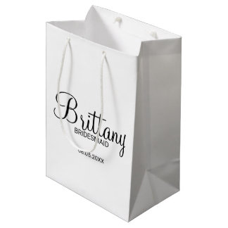 Modern Black and White  Personalized Bridesmaids Medium Gift Bag