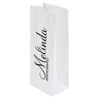 Modern Black and White Personalized Bridesmaids Wine Gift Bag