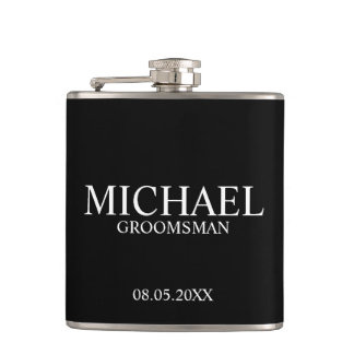 Modern Black and White Personalized Groomsman Flasks