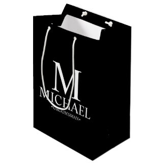Modern Black and White Personalized Groomsman Medium Gift Bag