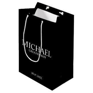 Modern Black and White Personalized Groomsman Medium Gift Bag