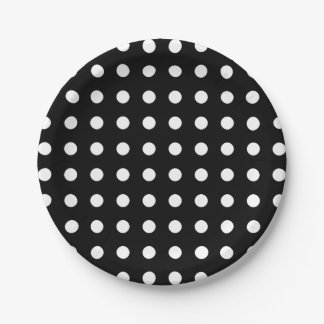 Modern black and white polka dots party paper plate