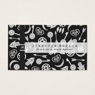 Modern Black and White Popular Symbols Business Card