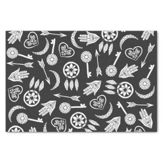 Modern Black and White Popular Symbols Tissue Paper