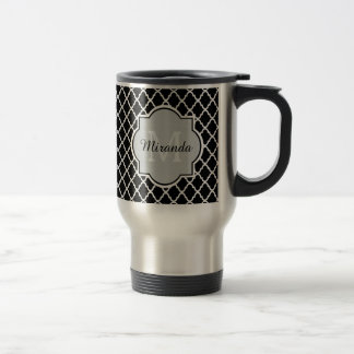 Modern Black and White Quatrefoil Monogrammed Name Travel Mug