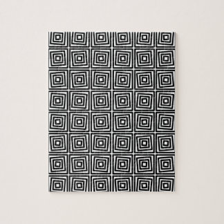 Modern Black and White squares, stripes Jigsaw Puzzle