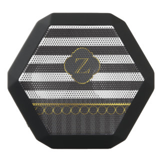 Modern black and white stripe with gold rings black bluetooth speaker