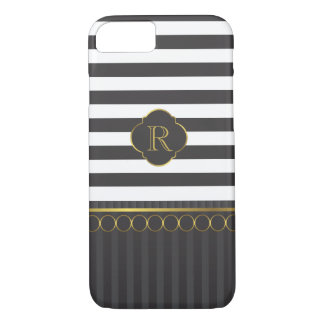 Modern black and white stripe with gold rings iPhone 7 case
