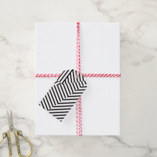 Modern Black and White Stripes Geometric Pattern Gift Tags