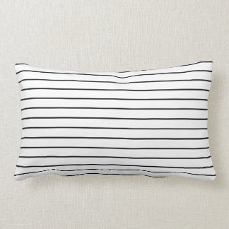Modern Black and White Stripes Lumbar Throw Pillow