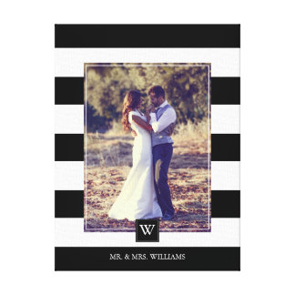 Modern Black and White Stripes Monogrammed Photo Canvas Print