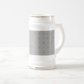 Modern Black And White Stripes Tribal Pattern Beer Stein