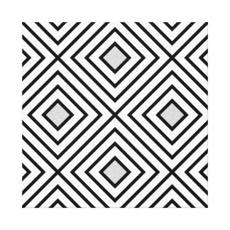 Modern Black And White Stripes Tribal Pattern Canvas Print