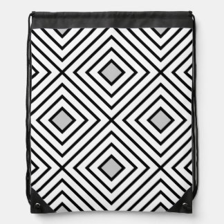 Modern Black And White Stripes Tribal Pattern Drawstring Bag