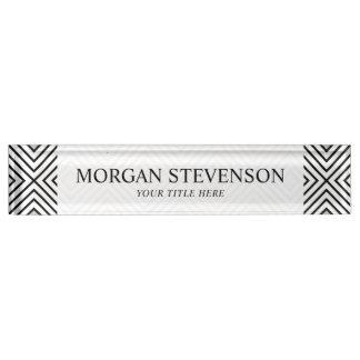 Modern Black And White Stripes Tribal Pattern Nameplate