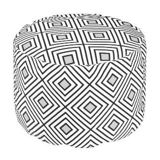 Modern Black And White Stripes Tribal Pattern Pouf