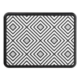 Modern Black And White Stripes Tribal Pattern Trailer Hitch Cover