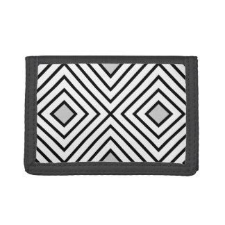 Modern Black And White Stripes Tribal Pattern Tri-fold Wallet