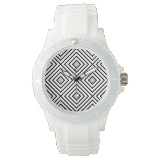 Modern Black And White Stripes Tribal Pattern Watch