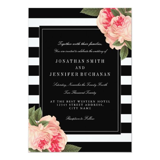 Modern Black and White Stripes Wedding Suite Card