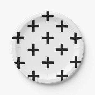Modern black and white Swiss Cross pattern Paper Plate