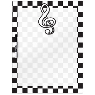 Modern Black and White Treble Clef on Checkerboard Dry Erase Board