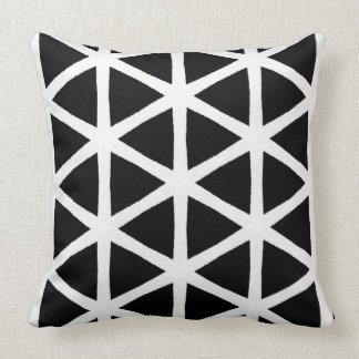 Modern Black and White Triangle Pattern Pillow