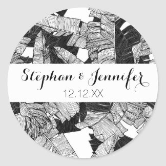 Modern Black and White Tropical Banana Leaves Classic Round Sticker