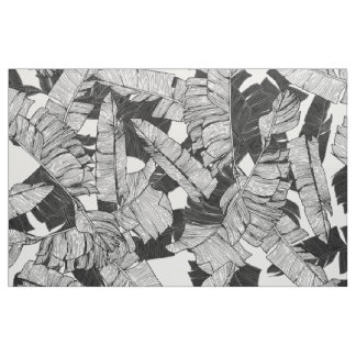 Modern Black and White Tropical Banana Leaves Fabric