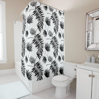 Modern Black and White Tropical Palm Leaves