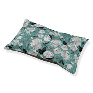 Modern Black and White Watercolor Floral Turquoise Pet Bed