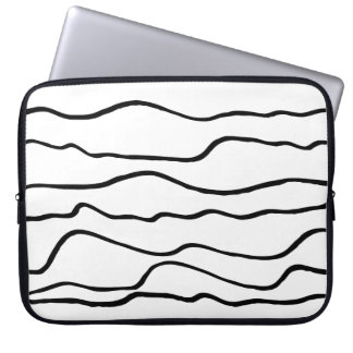 Modern Black and White Wavy Lines Neoprene Laptop Sleeves
